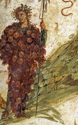 02 Baco e o Vesúvio. Museu Arqueológico Nacional de Nápoles. Fresco. Pormenor.  Séc. I.