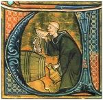 05 Iluminura. Monge a provar o vinho. Aldobrandino of Siena.  Li livres dou santé. British Library. Séc. XIII.