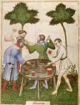 10. L'ébriété. Ibn Butlan, Tacuinum sanitatis, ca. 1395, Paris.