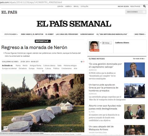 El País. Regreso a la morada de Nerón