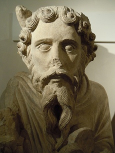 Statue of Moses c.1150-1200, St. Mary's Abbey, now in the Yorkshire Museum. Detail.