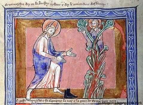 Arbusto flamejante. Huntingfield Psalter. 1210-1220.
