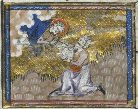 Moisés recebe as tábuas da lei. Ms. Rouen, BM 0.4. Séc. XIV.