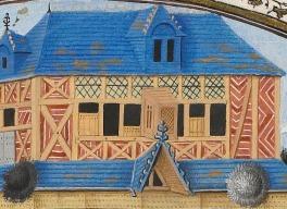 Les « fenêtres à vendre », detalhe. Ethiques, politiques et économiques d'Aristote. Séc. XV. Iluminura. Biblioteca Municipal de Rouen, ms 12, fol. 127 v°.