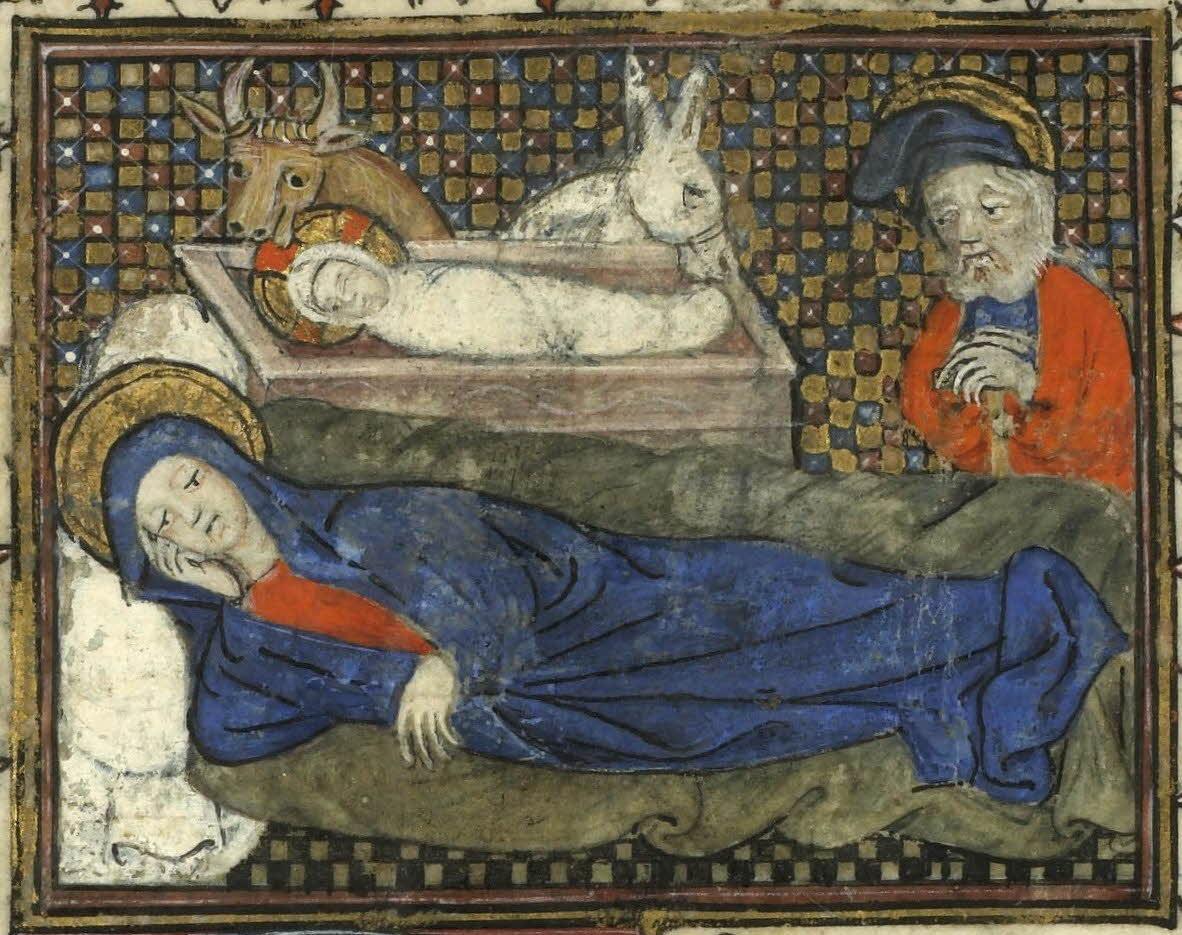 Livre d'heures de Béatrice de Rieux - La Nativité. 1390.