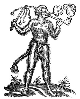 The devil of tobacco From William Hornby's The Scourge of Drunkennes, an anti-smoking pamphlet printed by G. Eld for Thomas Baylie, London, 1618