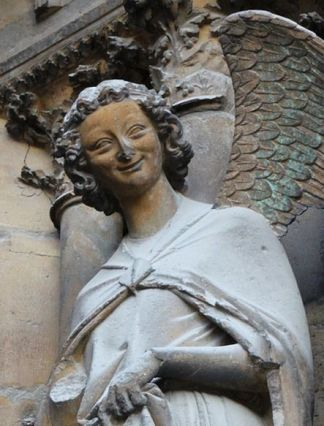 02. Angel of the Annunciation. West portal. Notre Dame de Reims Cathedral, c. 1225-45. Detail.