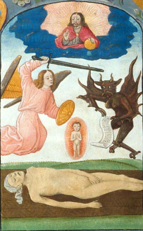 04. 'Miniature of a battle for a soul, with God in heaven above.' Book of Hours, use of Sarum. Bruges, c. 1500. British Library.