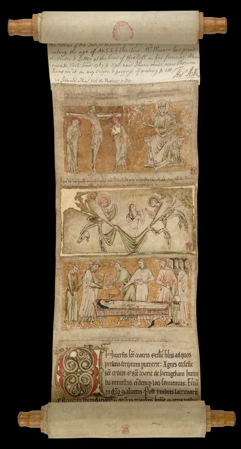 08.Mortuary roll of Lucy, foundress and first prioress of the Benedictine nunnery of Castle Hedingham. Essex. C 1225-1230.