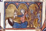 08. Miracles de Notre Dame, 13e s. (troisième quart). Ange redonnant son âme au moine de Saint-Pierre de Cologne, Besançon, BM, ms. 0551, f. 047v