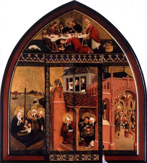 Lucas Moser. The Magdalene Altar. St. Mary Magdalene Church, Tiefenbronn, 1432. Em cima, na casa de Simão. À esqueda, a viagem para França. À direita, a última comunhão de Madalena.