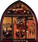 12. Lucas Moser. The Magdalene Altar. St. Mary Magdalene Church, Tiefenbronn, 1432. Em cima, na casa de Simão. À esqueda, a viagem para França. À direita, a última comunhão de Madalena.
