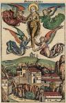 25. Elevation of Mary Magdelene. Nuremberg Chronicle, coloured woodcut. 1493