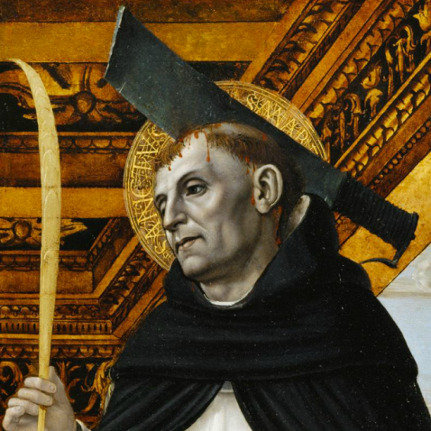 Ambrogio Bergognone, Detail of the polyptych with St. Peter Martyr and a Kneeling Donor, Musée du Louvre, Paris, ca. 1494.