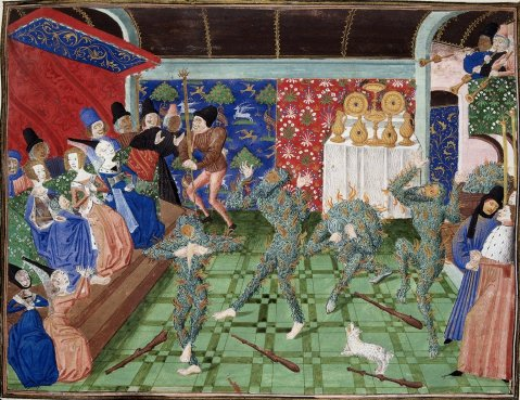 Le bal des ardants. British Library MS Harley 4380, folio 1, 15th Century.