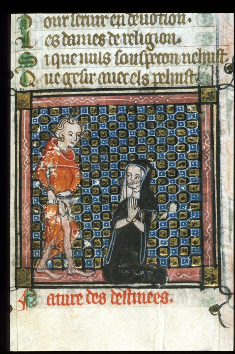 Origen Castrating Himself before a Nun. Roman de la Rose, ca 1380. British Library