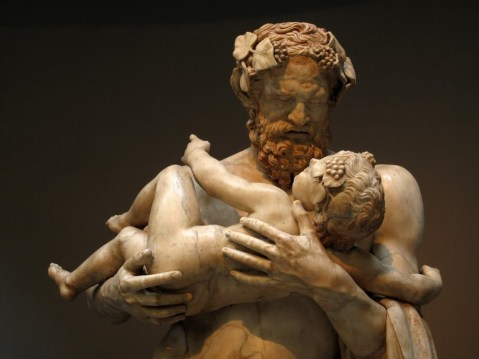 Lysippos. Silenus holding the infant Dionysos in his arms. Hellenistic copy. 4th BCE. Louvre.
