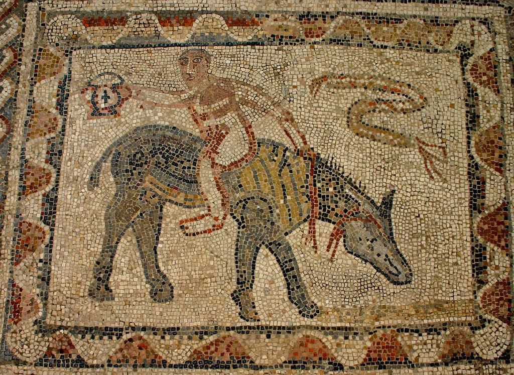 Sítio Arqueológico de Volubilis. Ruínas Romanas. Mosaico do Desultor. Sécs I a III.