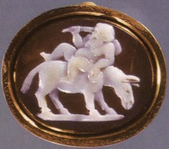 Drunk Silenus riding a donkey. Onyx. 1st century BCE.