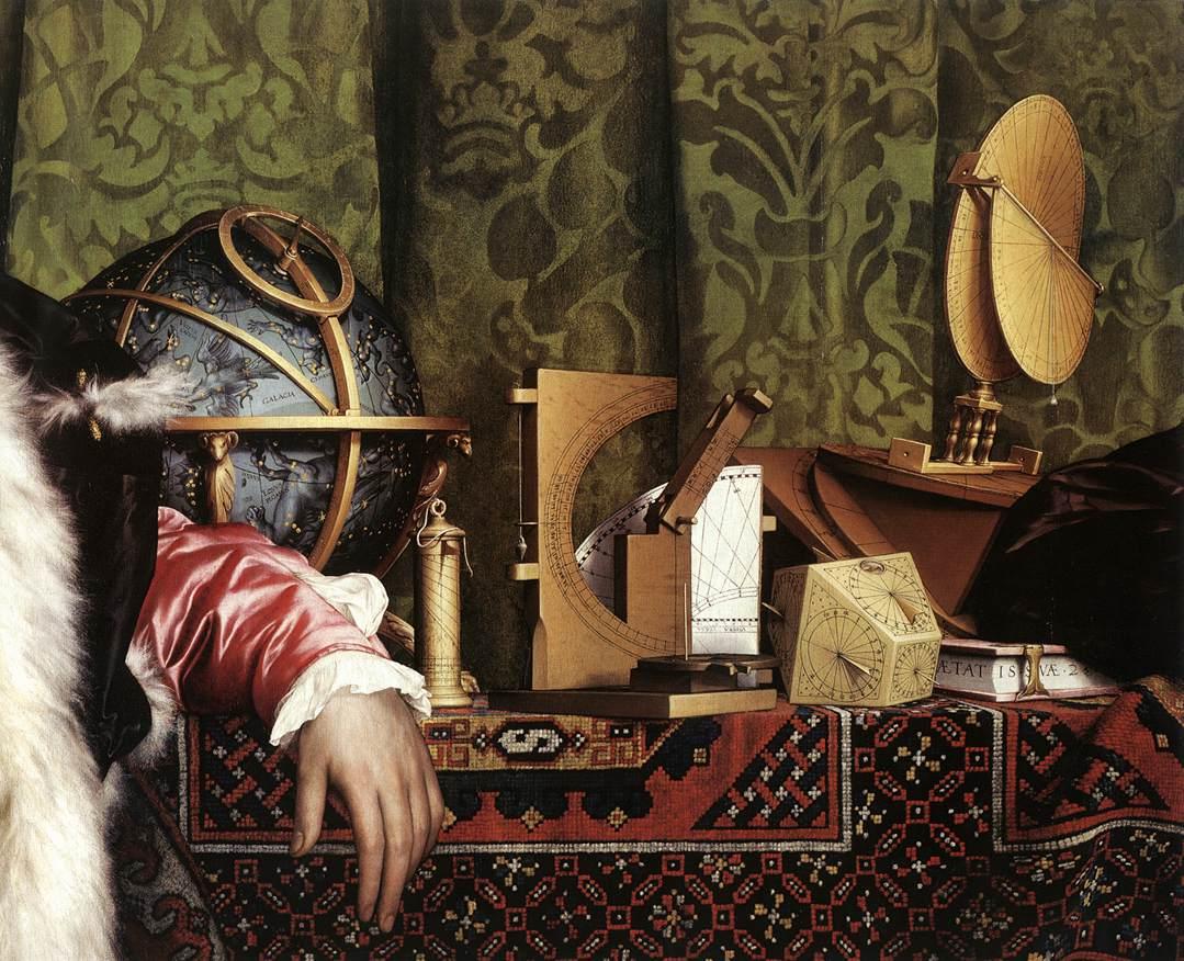12.  Holbein. The Ambassadors. Centro alto. Astronomia e Geometria