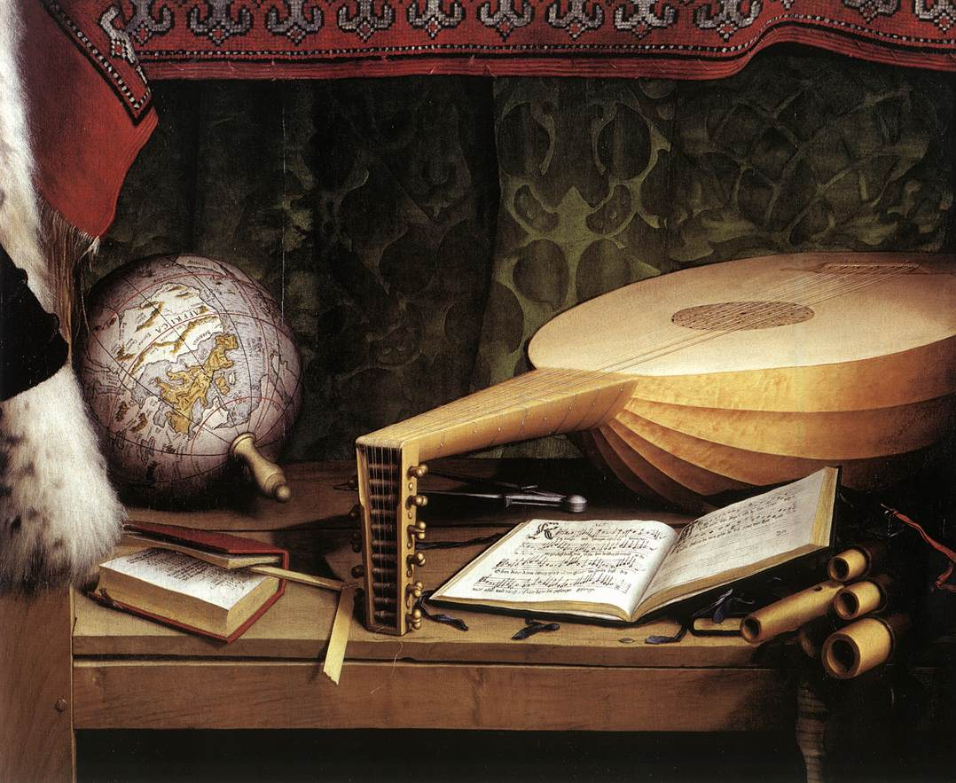 13. Holbein. The Ambassadors. Centro baixo. Aritmética, Geografia e Música.
