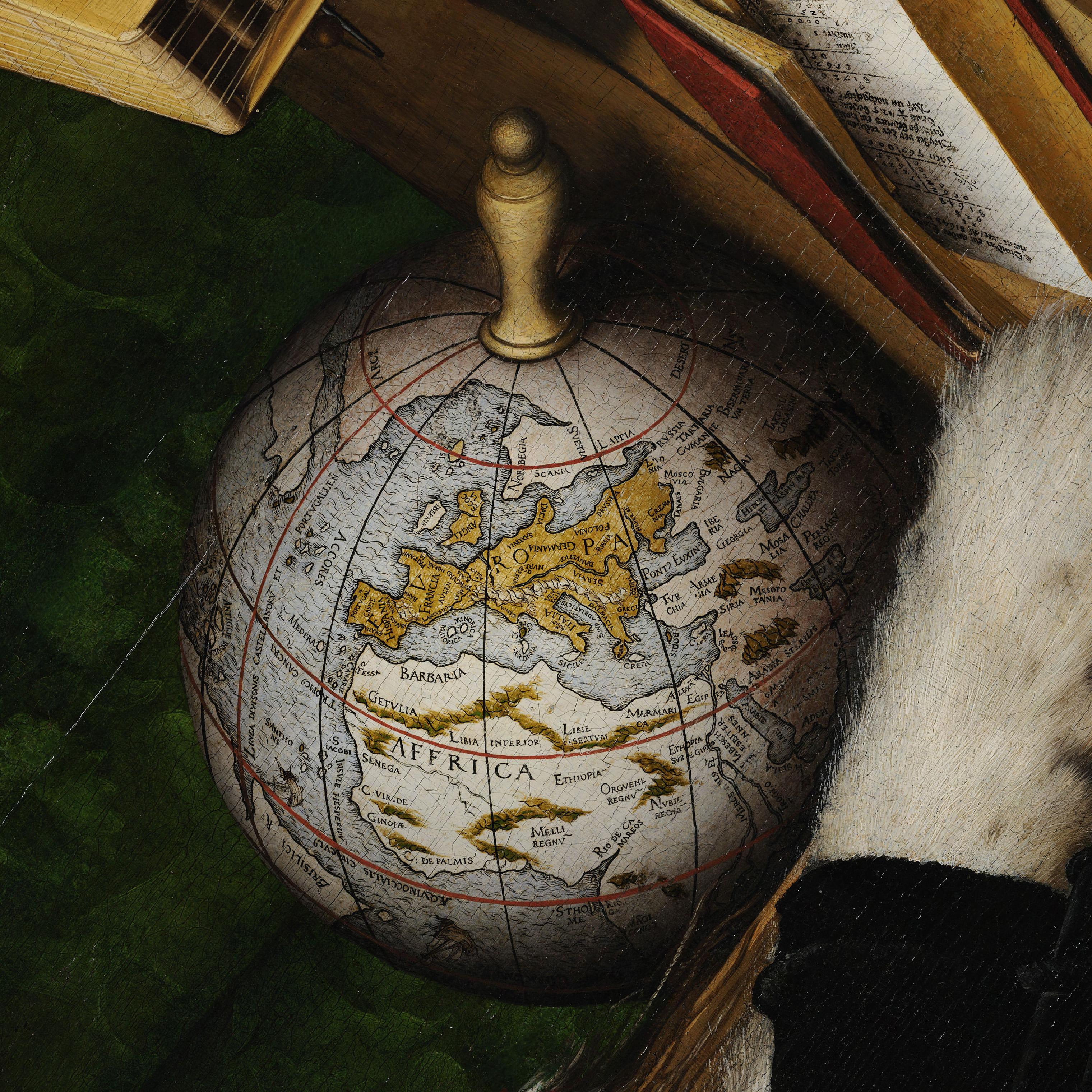17. Holbein. The Ambassadors. Mapa com rota da circum-navegação