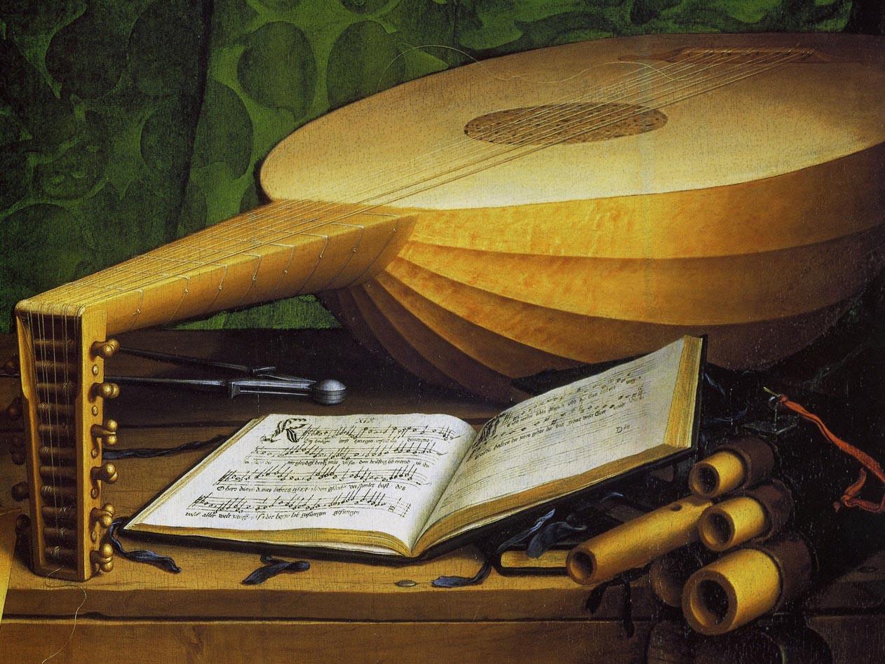 19. Holbein. The Ambassadors. Alaúde e livro de cânticos