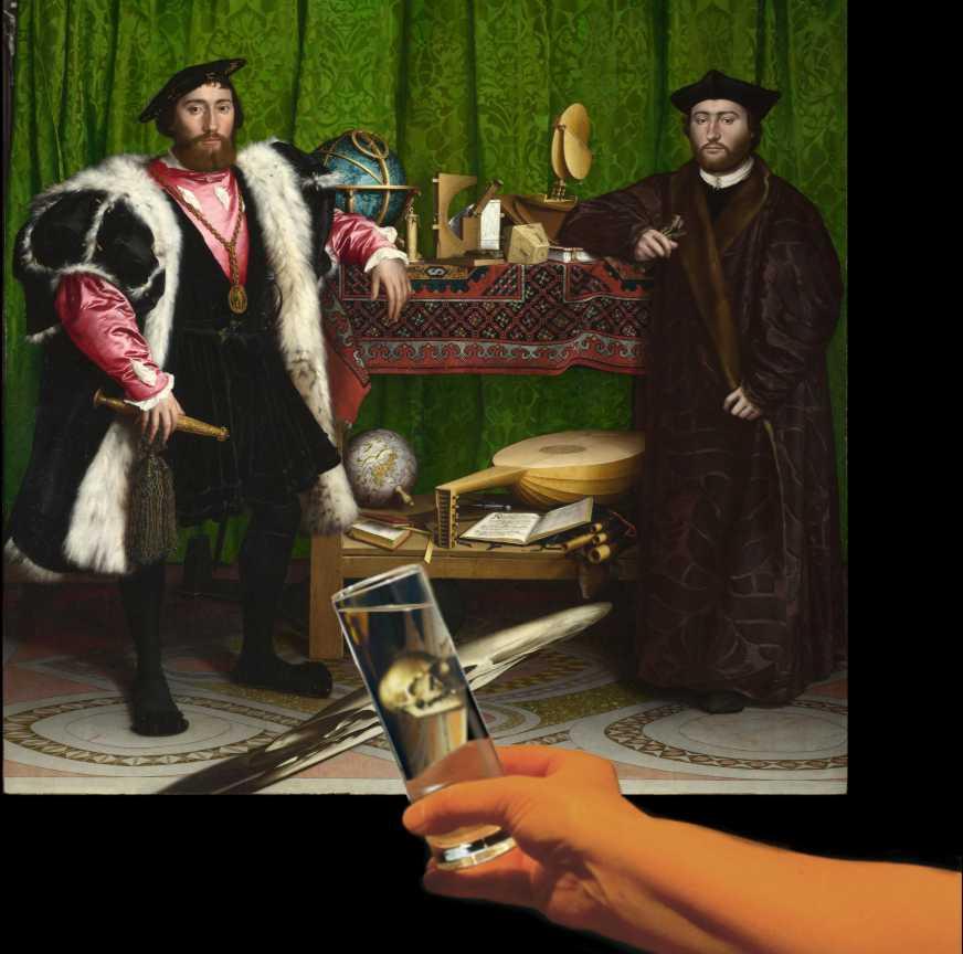 22. Holbein. The ambassadors. Anamorfose com copo.