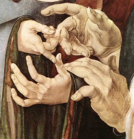DÜRER, Albrecht. Cristo entre os Doutores (Pormenor). 1506.