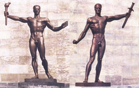 Arno Breker: Esculturas no pátio da chancelaria em Berlim.