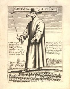 Equipamento de médico durante a peste negra. 1656.