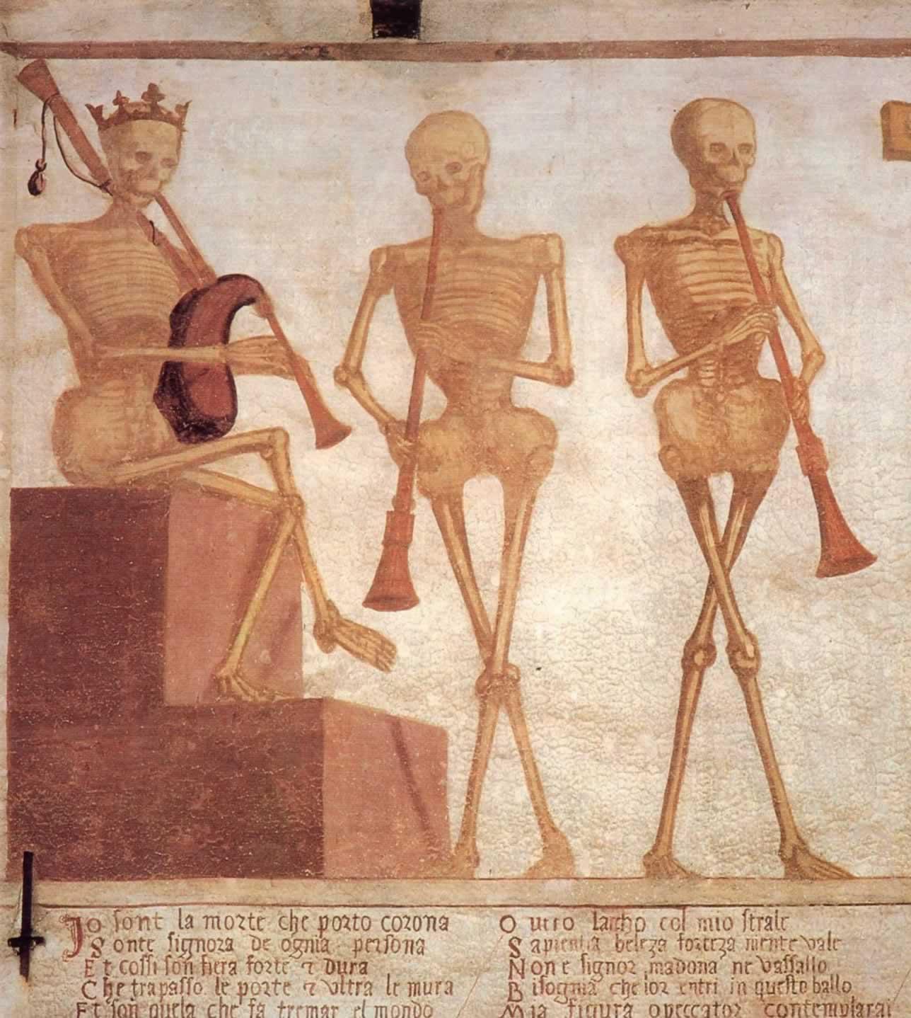 Texto inicial da dança macabra. Pinzolo. Itália
