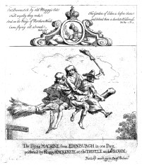 Two scotsmen and a witch flying on a broomstick. Etching by Paul Sandby with text by Hopkins.