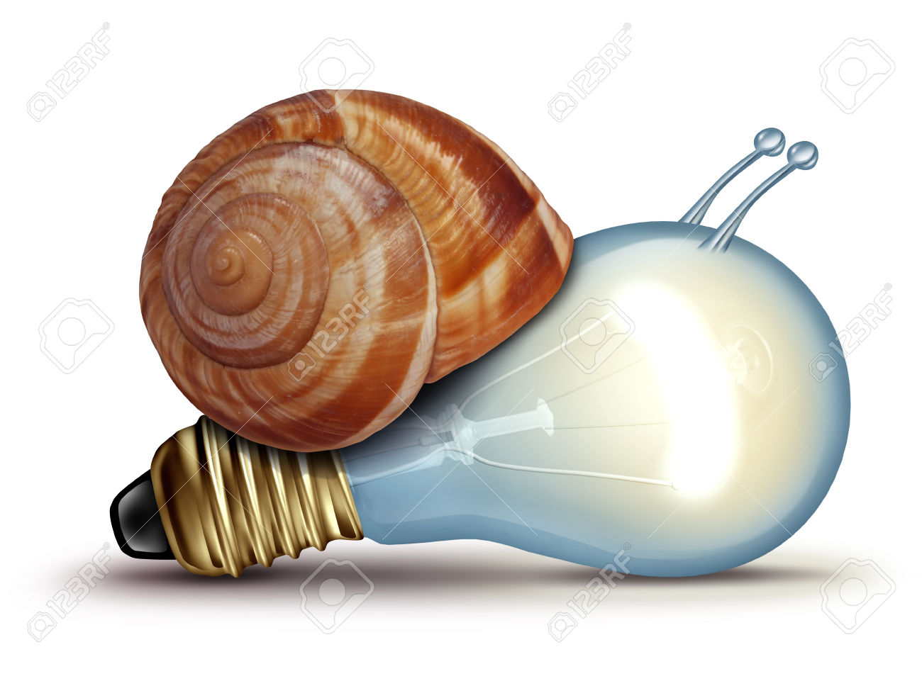 Low energy and slow creative concept as a light bulb or lightbulb with a snail shell as an innovation crisis metaphor for creativity issues facing new ideas to innovate on a white background.