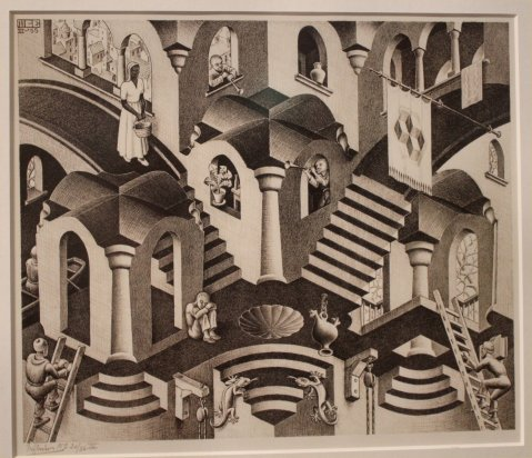 Maurits C. Escher, Convex and Concave, lithograph, 1955