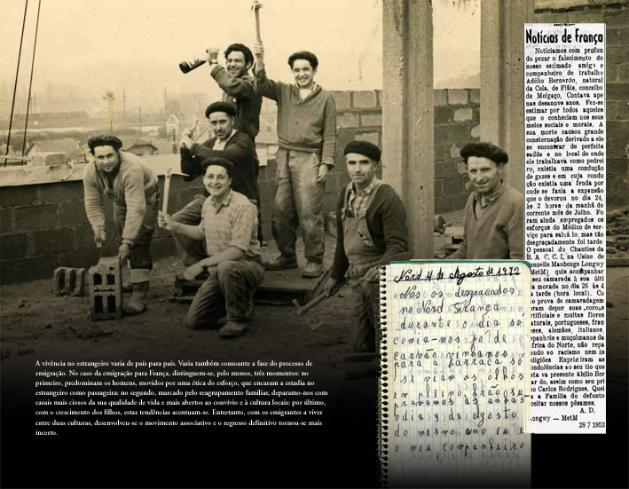 Uma pausa no trabalho. Diário de um emigrante. Notícia no jornal regional. Painel do Espaço Memória e Fronteira. Melgaço.