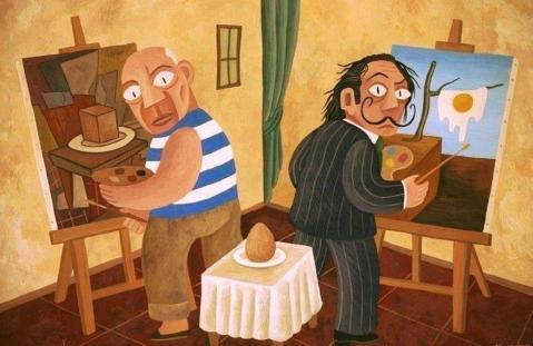 David Vela. Picasso e Dalí pintando um ovo.