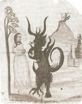Cristo tentado pelo diabo. Igreja de Hauho em Häme, Finlândia. Idade Média.