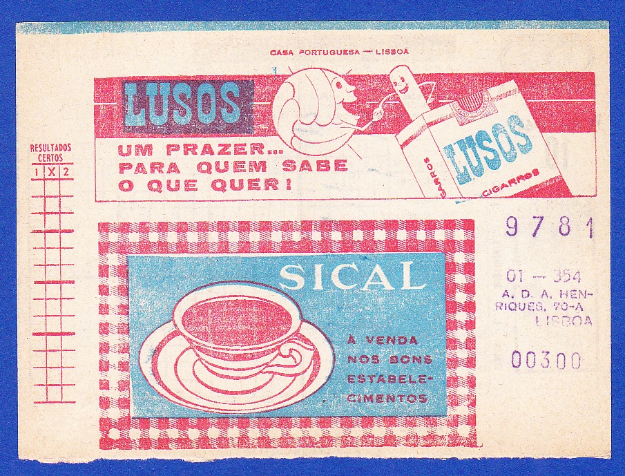 Bilhete de Totobola, do dia 29 de Novembro de 1964.