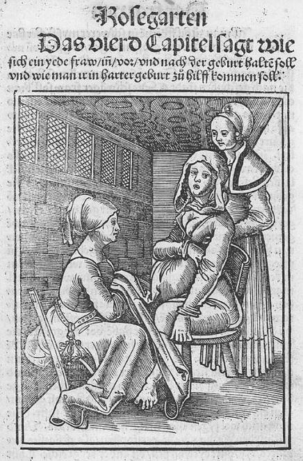 The Rosegarden for Pregnant Women and Midwives, written by Eucharius Rosslin, early 1500s.