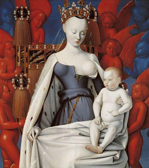 Jean Fouquet, Vergine e il Bambino (particolare), 1452-55.