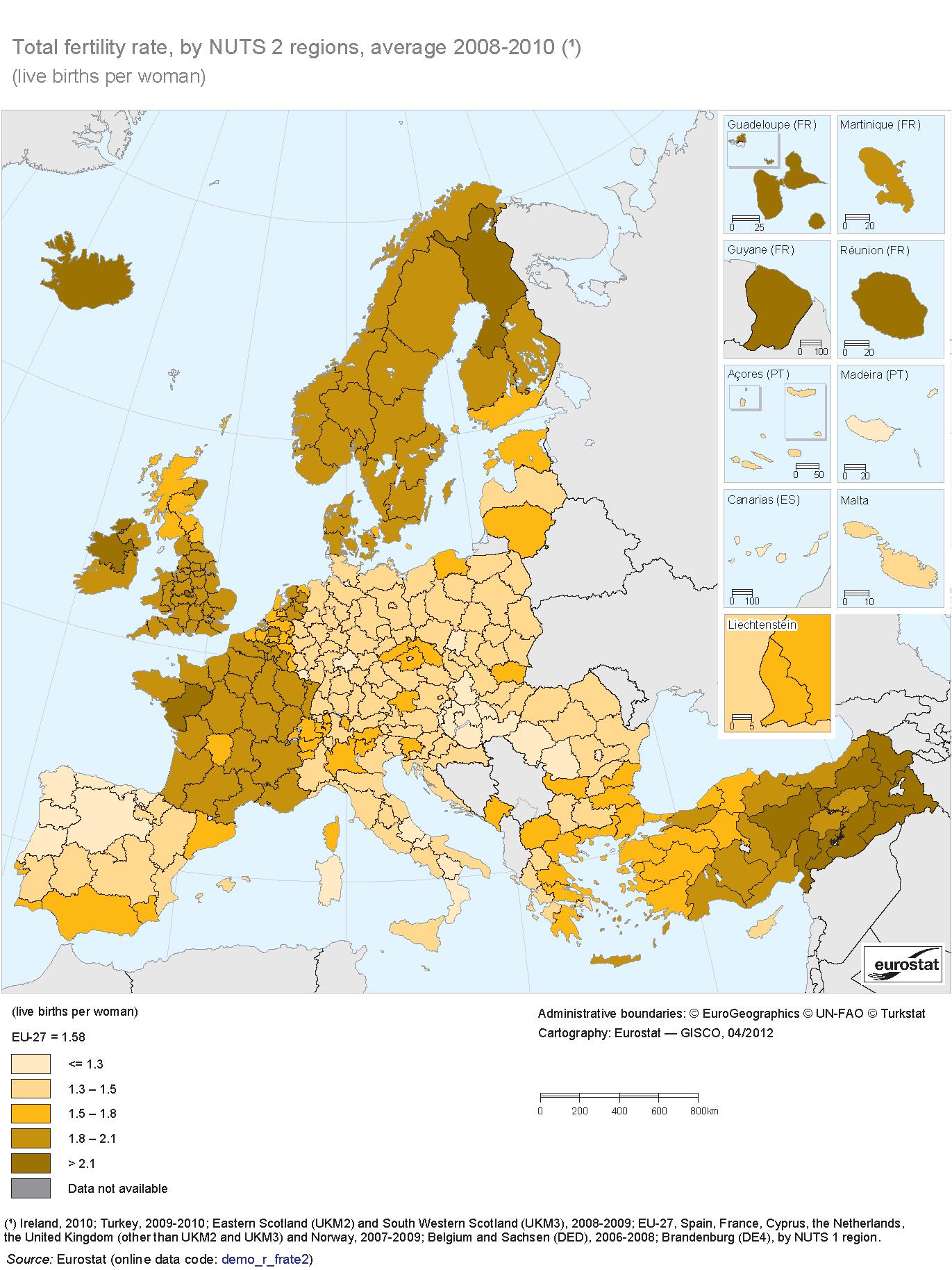 Taxas de fecundidade na Europa