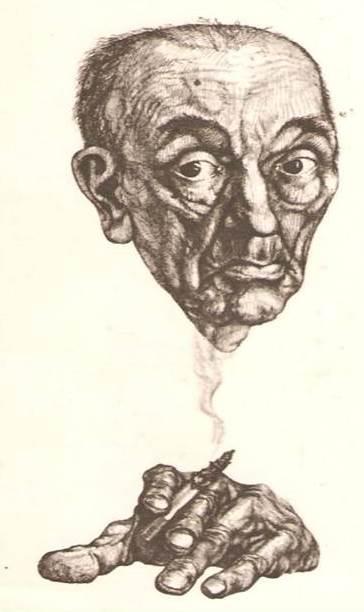 Mikhail Bakhtin. Caricatura.