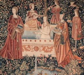 Tapeçaria. Finais do séc. XV. Museu Nacional da Idade Média. Cluny, Paris.
