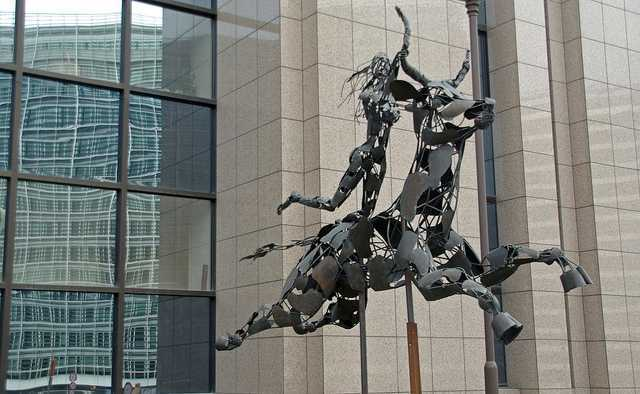 Sculpture, outside EU offices in Brussels, of Europa riding the bull .