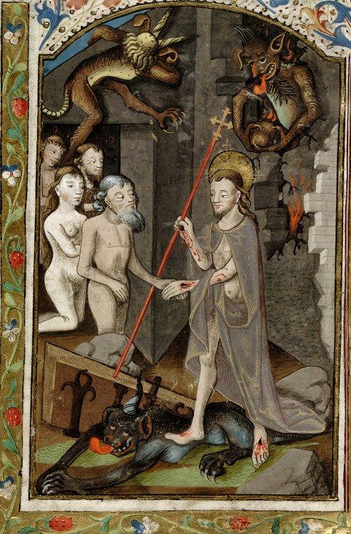 06. The Harrowing of Hell. Bibliothèque nationale de France, detail of f.370r. Augustine, De Civitate Dei. 1370.1380.