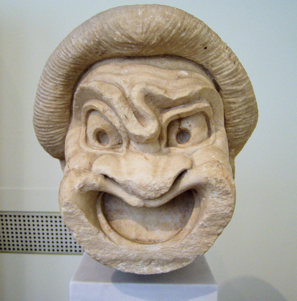 Sculpture of a theater mask dating from the Hellenistic. National Archaeological Museum in Athens.