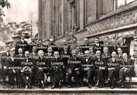 Conferência  de Solvay - 1927. Com identificação.