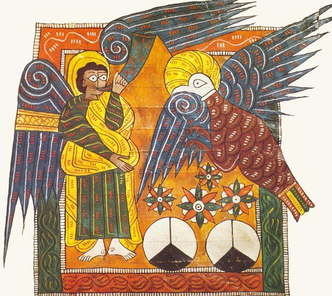 Le quatrième Ange sonne de la trompette (Apocalypse VIII), enluminure du Beatus de l'Escorial, vers 950-955.