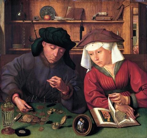 Quentin Massys. O banqueiro e sua  esposa. 1514. Louvre.